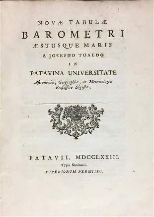 Barometry. TOALDO. Novae Tabulae Barometri Aestusque
