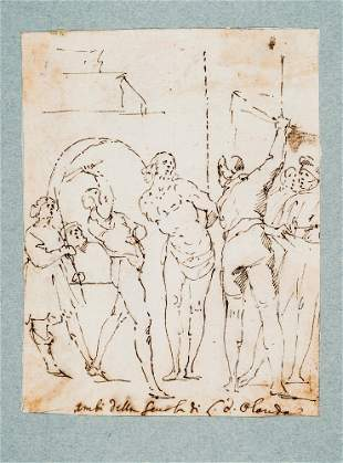 ALLEGRINI. Christ at the Column. Drawing.