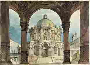 """Attribuited to BADIALI. Scenografia """"Tempio dei"""