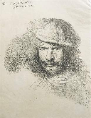 CASTIGLIONE. Bearded man with feather hat.