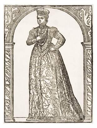 German woodcut of the fifteenth century. Dama con abito