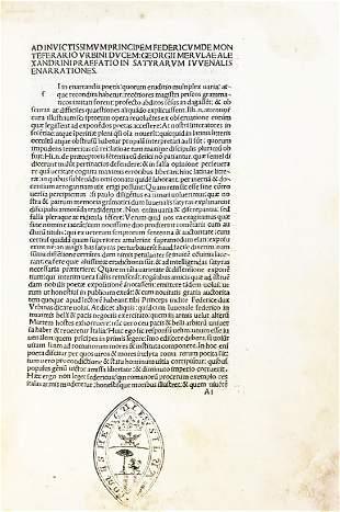 Incunabulum. JUVENALIS. Enarrationes Satyrarum
