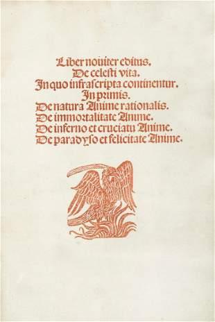 Incunabulum. JOHANNES A CURRIBUS. De Coelesti vita.