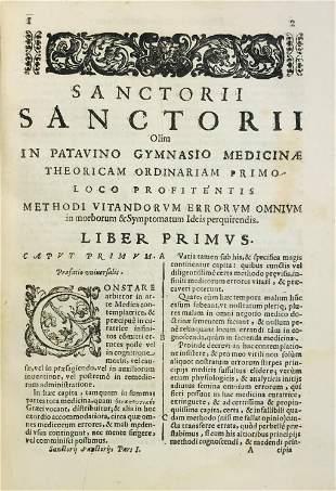 Medicine. SANTORIO. Methodi vitandorum errorum omnium.