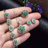 Silver inlaid jade green full Set