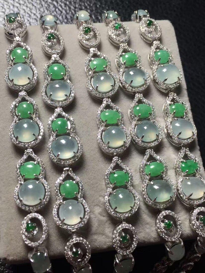 Silver inlay ice green jade bracelet 5