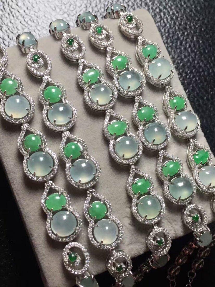 Silver inlay ice green jade bracelet 5 - 2