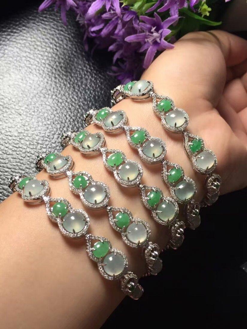 Silver inlay ice green jade bracelet 5 - 3