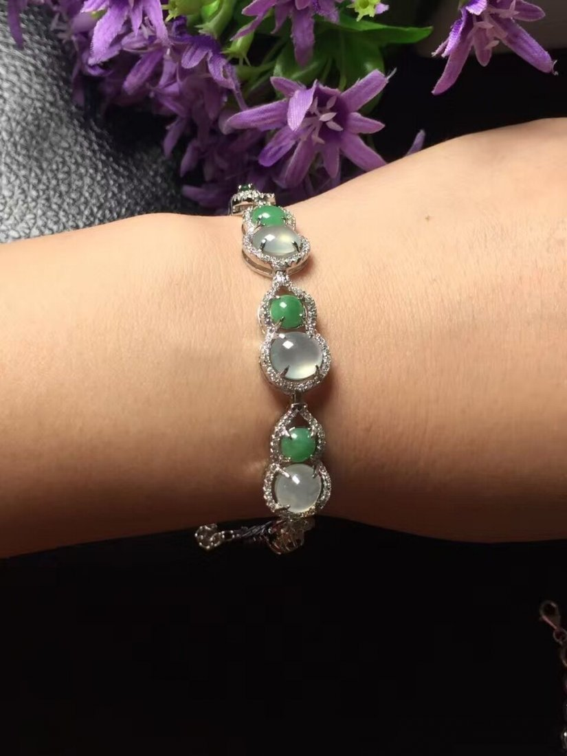 Silver inlay ice green jade bracelet 5 - 4