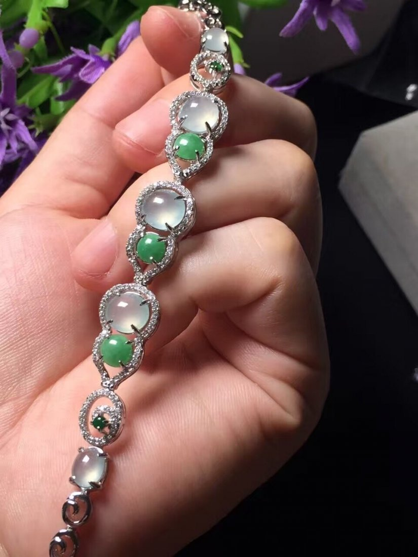 Silver inlay ice green jade bracelet 5 - 6