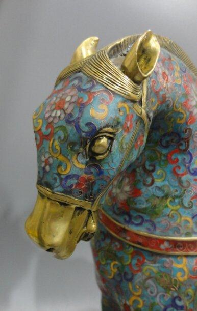 Cloisonne cloisonne enamel gilt bronze horse - 2