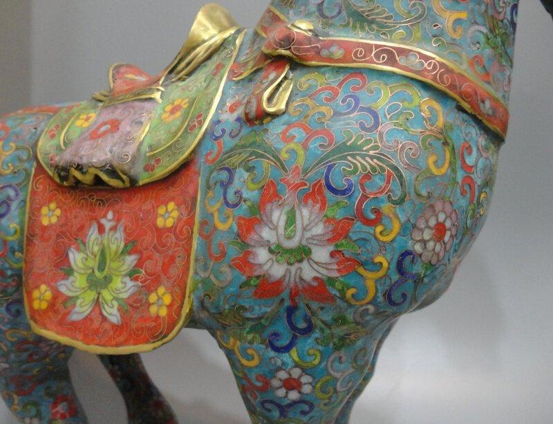 Cloisonne cloisonne enamel gilt bronze horse - 6