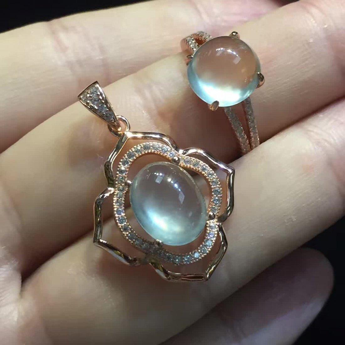 18k gold inlaid ice species emerald jade pendant ring - 4