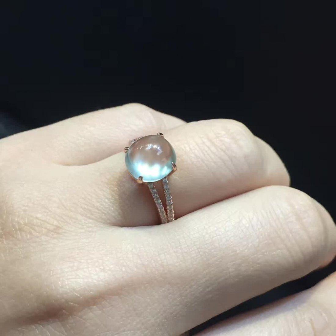 18k gold inlaid ice species emerald jade pendant ring - 6
