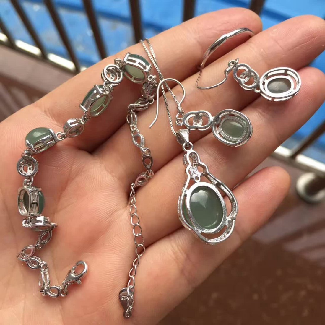 18k gold inlaid Ice  Fine water emerald jade four sets - 3