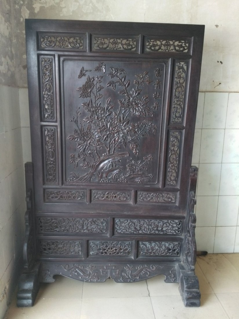 Rosewood carving peony flower screen
