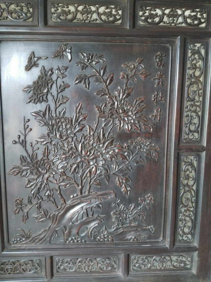 Rosewood carving peony flower screen - 2