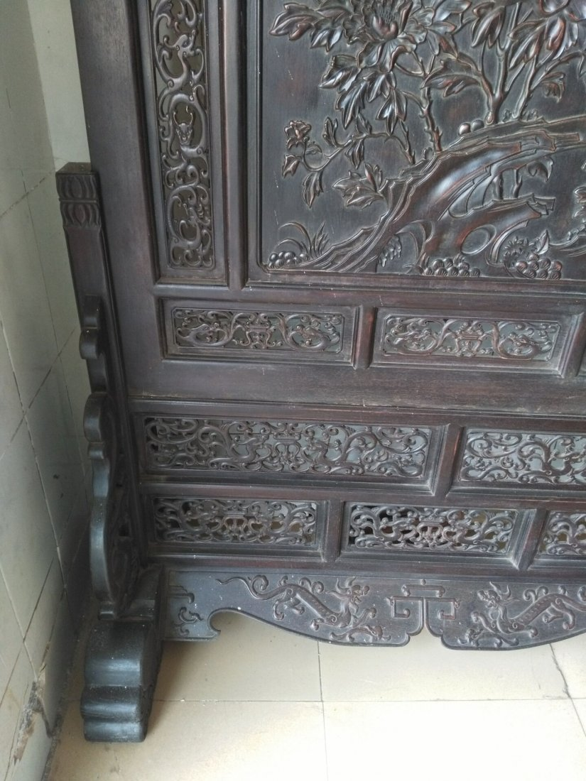 Rosewood carving peony flower screen - 3