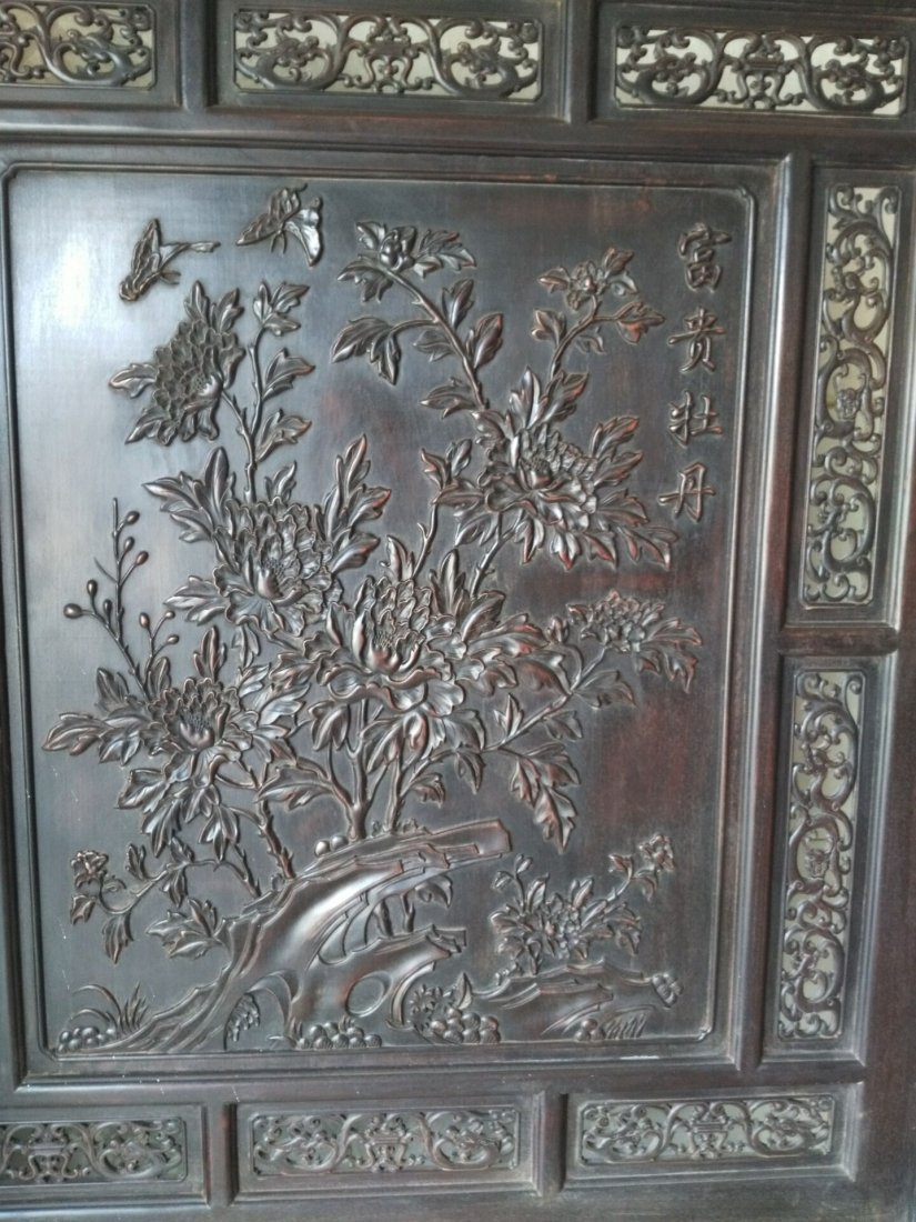 Rosewood carving peony flower screen - 4