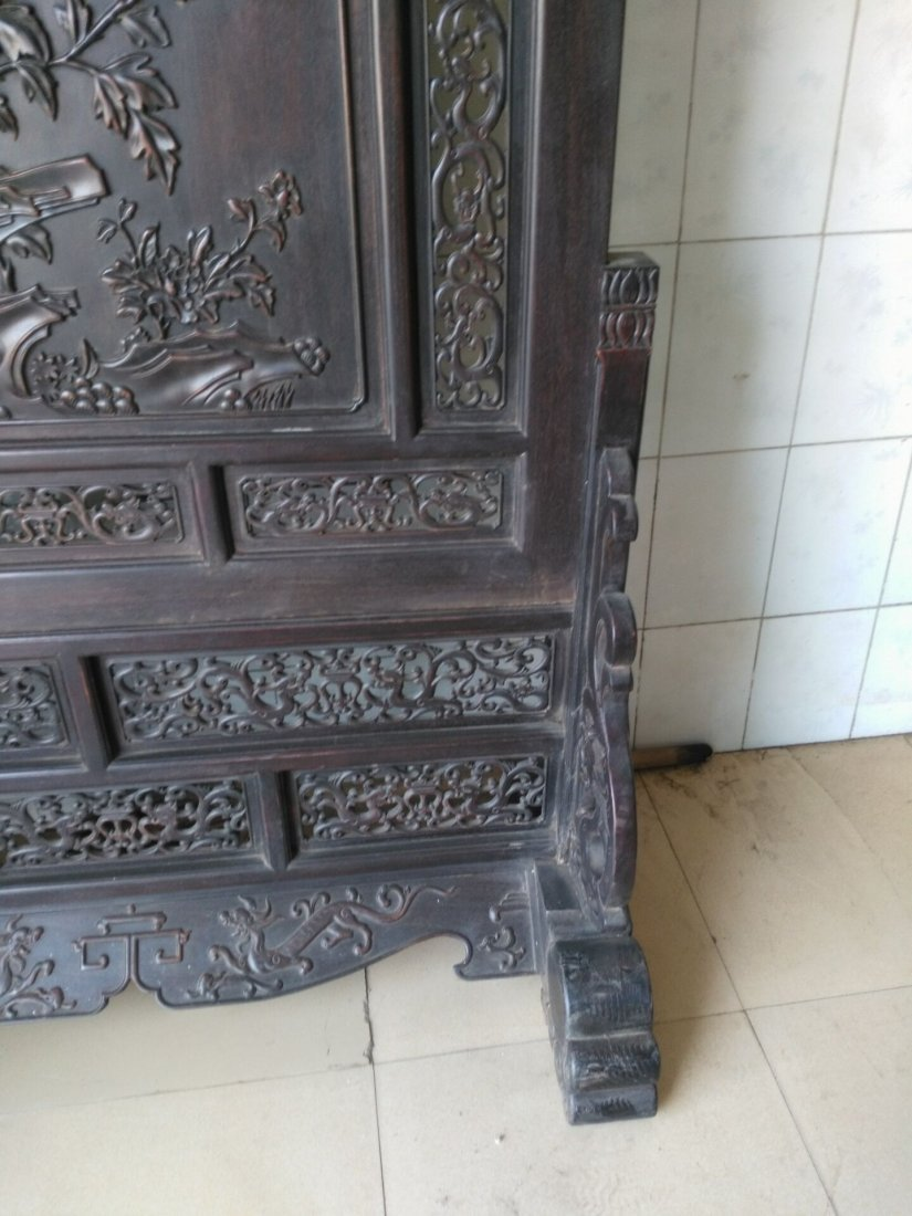 Rosewood carving peony flower screen - 5