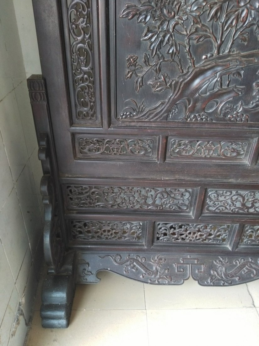 Rosewood carving peony flower screen - 7