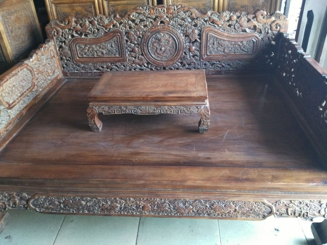 China  huanghuali hand carved Lion big bed