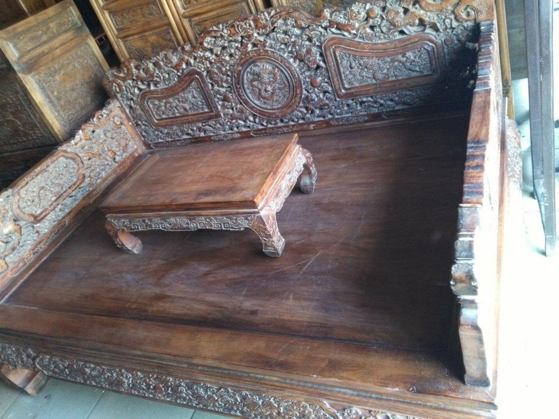 China  huanghuali hand carved Lion big bed - 5