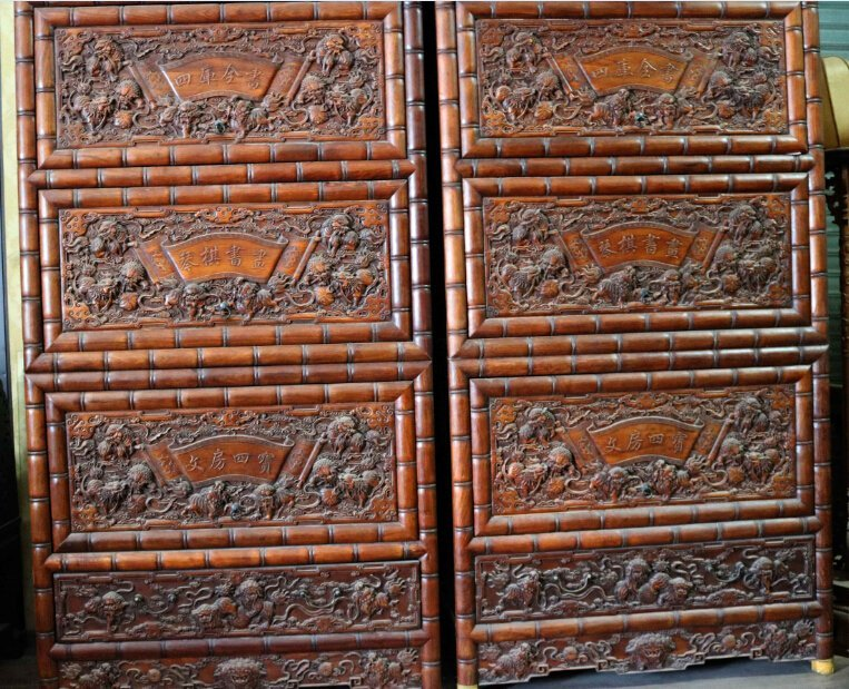 Huanghuali Fine carving lion Piano chess book painting