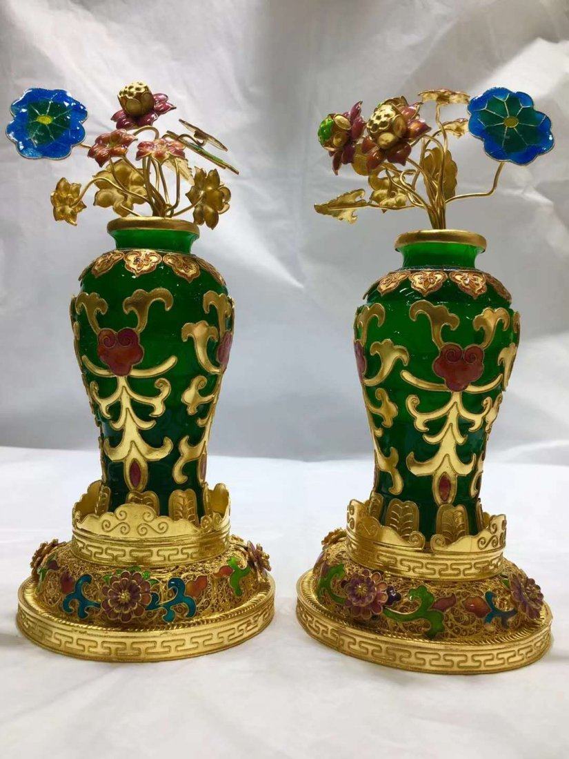 Emerald jade gold vase