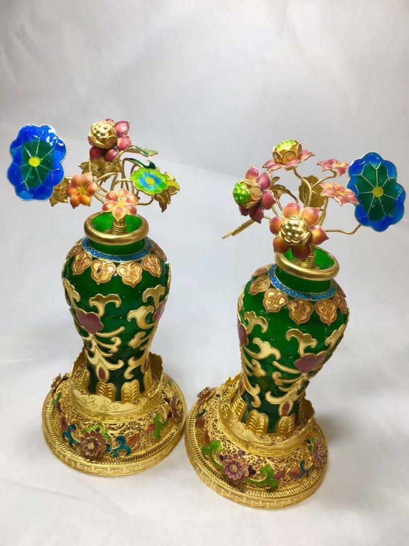 Emerald jade gold vase - 2