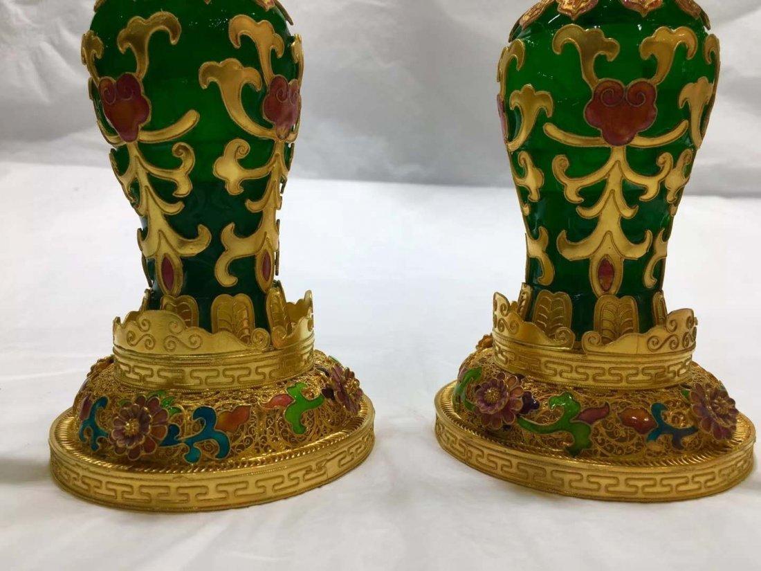 Emerald jade gold vase - 6