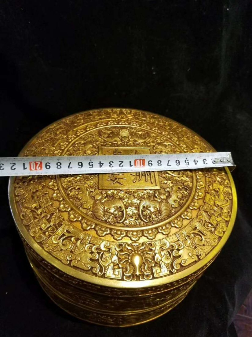 Qing Copper gilt exquisite carving Supply of money pot - 2