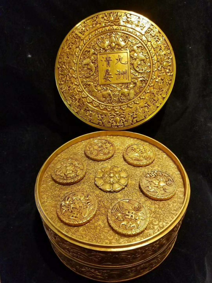 Qing Copper gilt exquisite carving Supply of money pot - 5