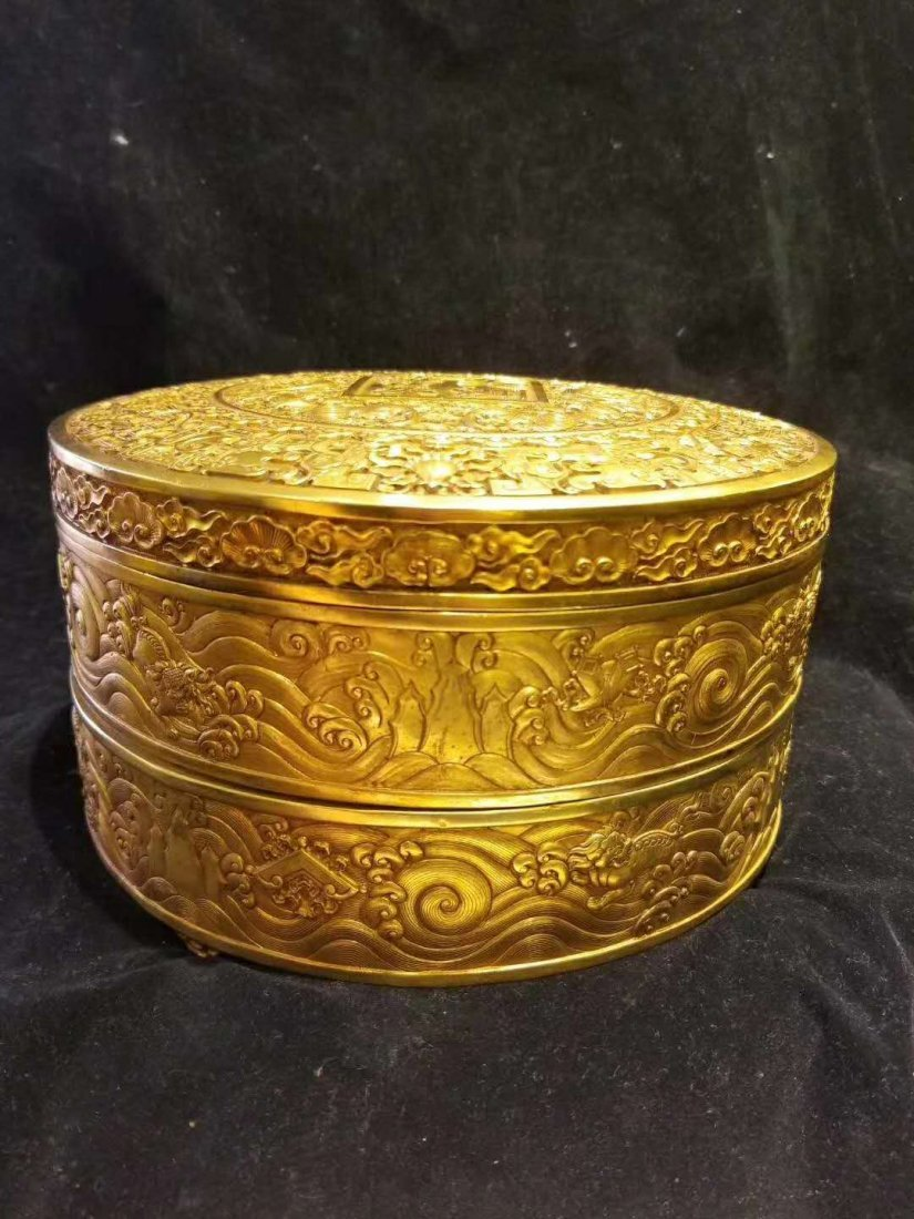 Qing Copper gilt exquisite carving Supply of money pot - 6