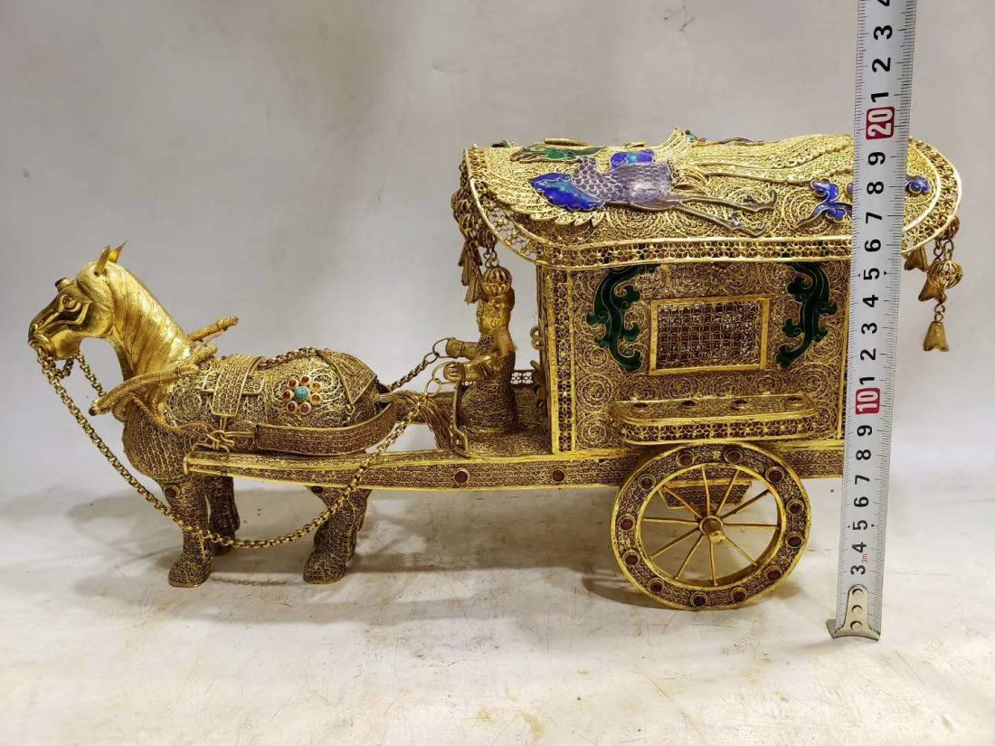 Qing Copper gilt Carriage