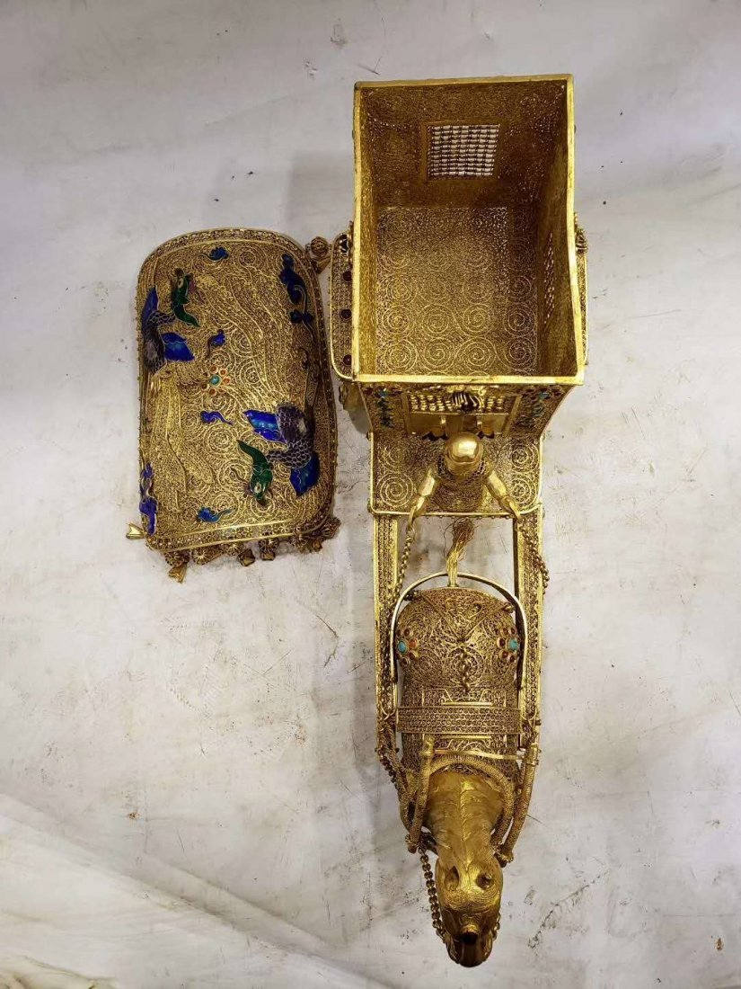 Qing Copper gilt Carriage - 2