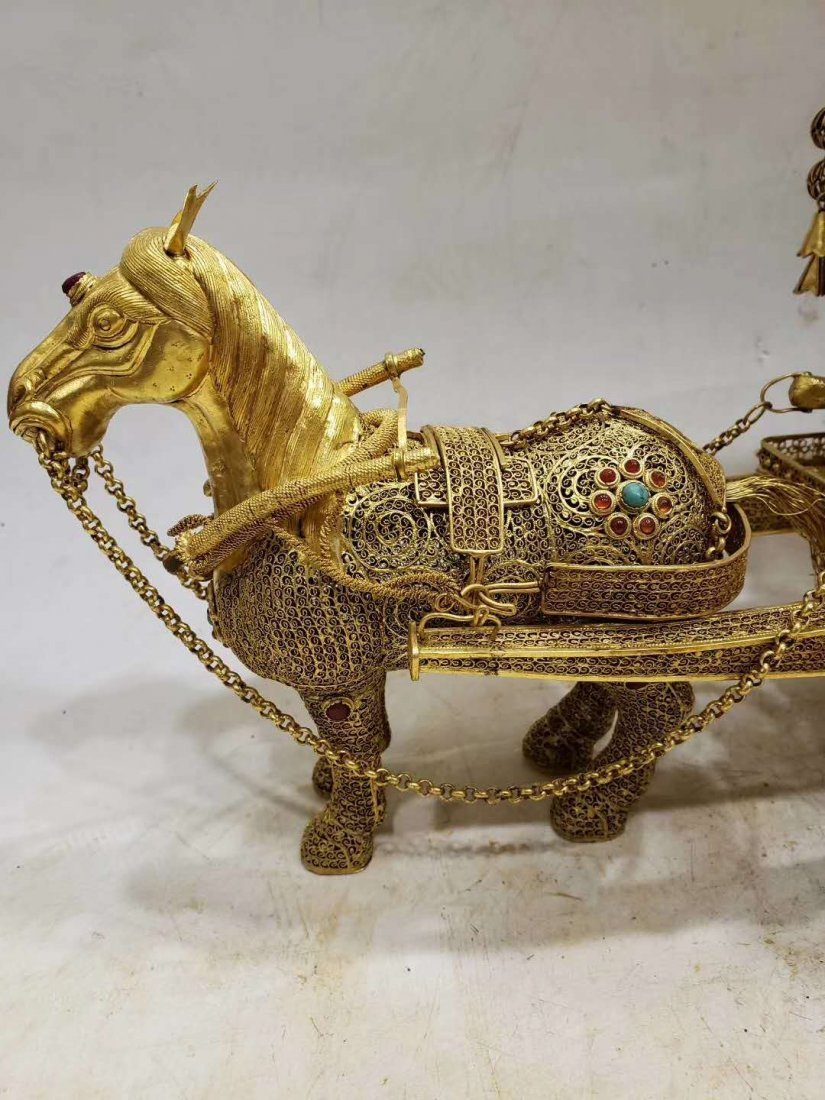 Qing Copper gilt Carriage - 3