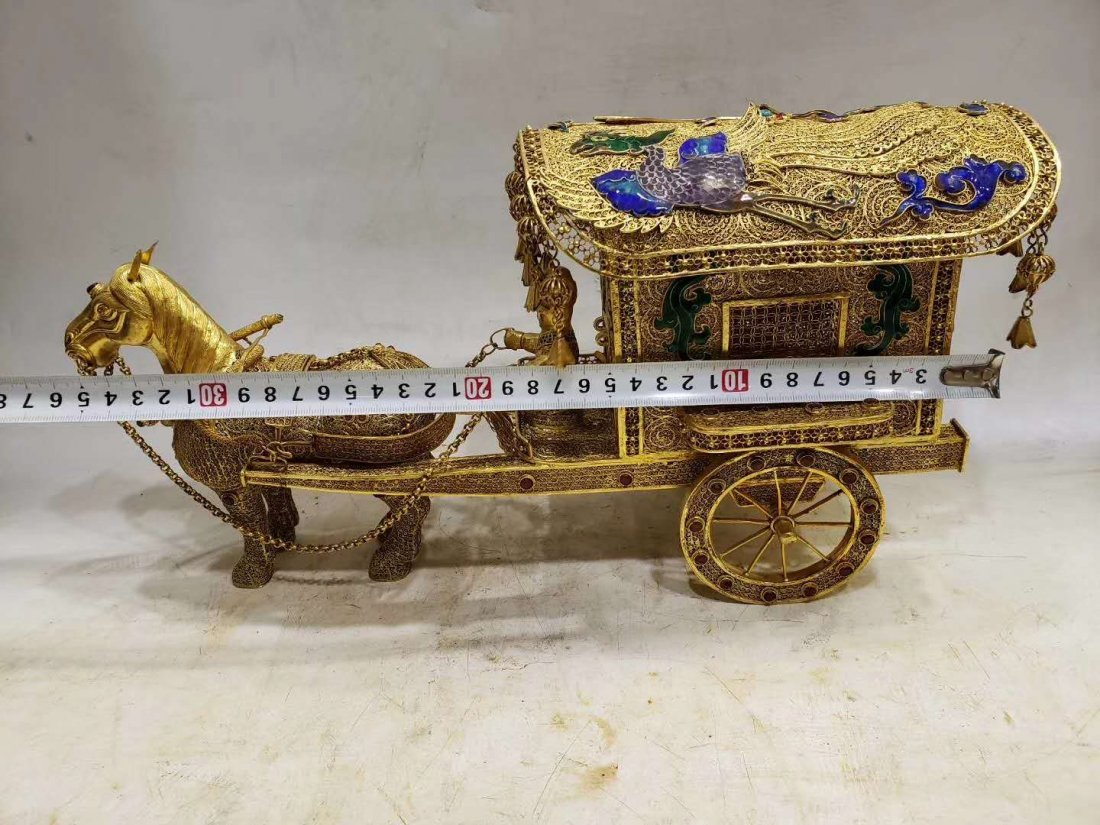 Qing Copper gilt Carriage - 4
