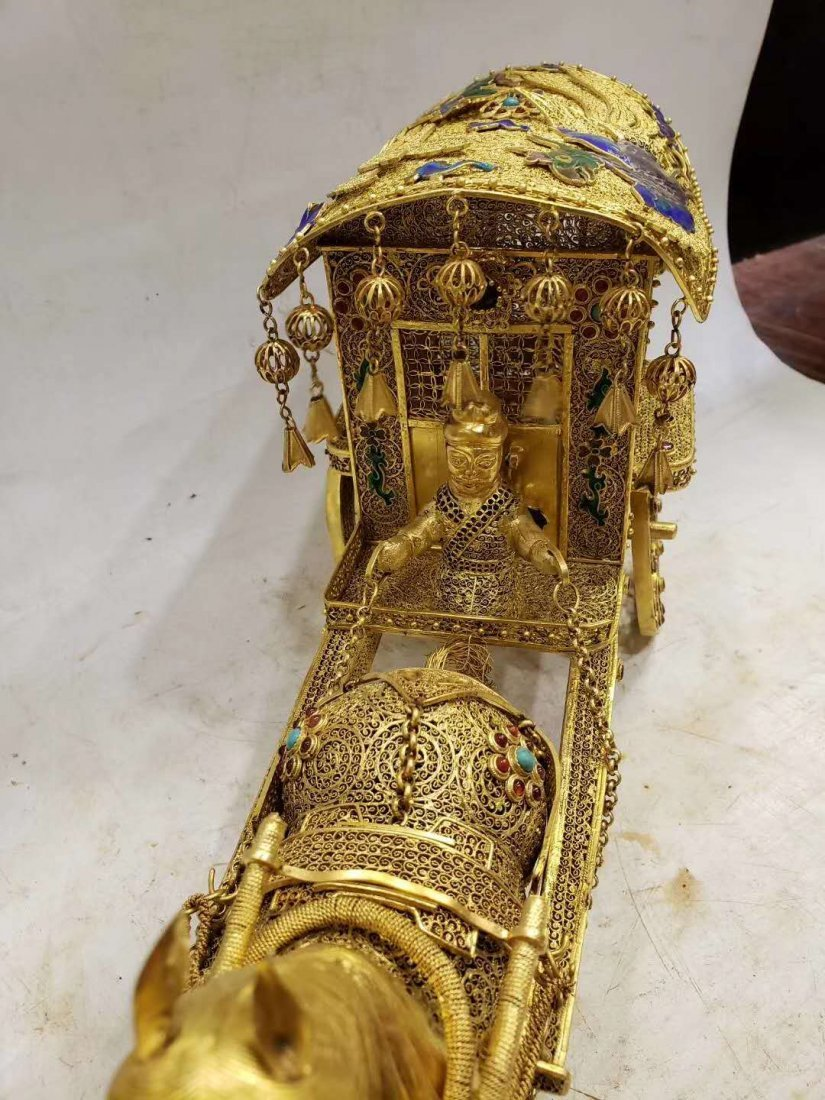 Qing Copper gilt Carriage - 5