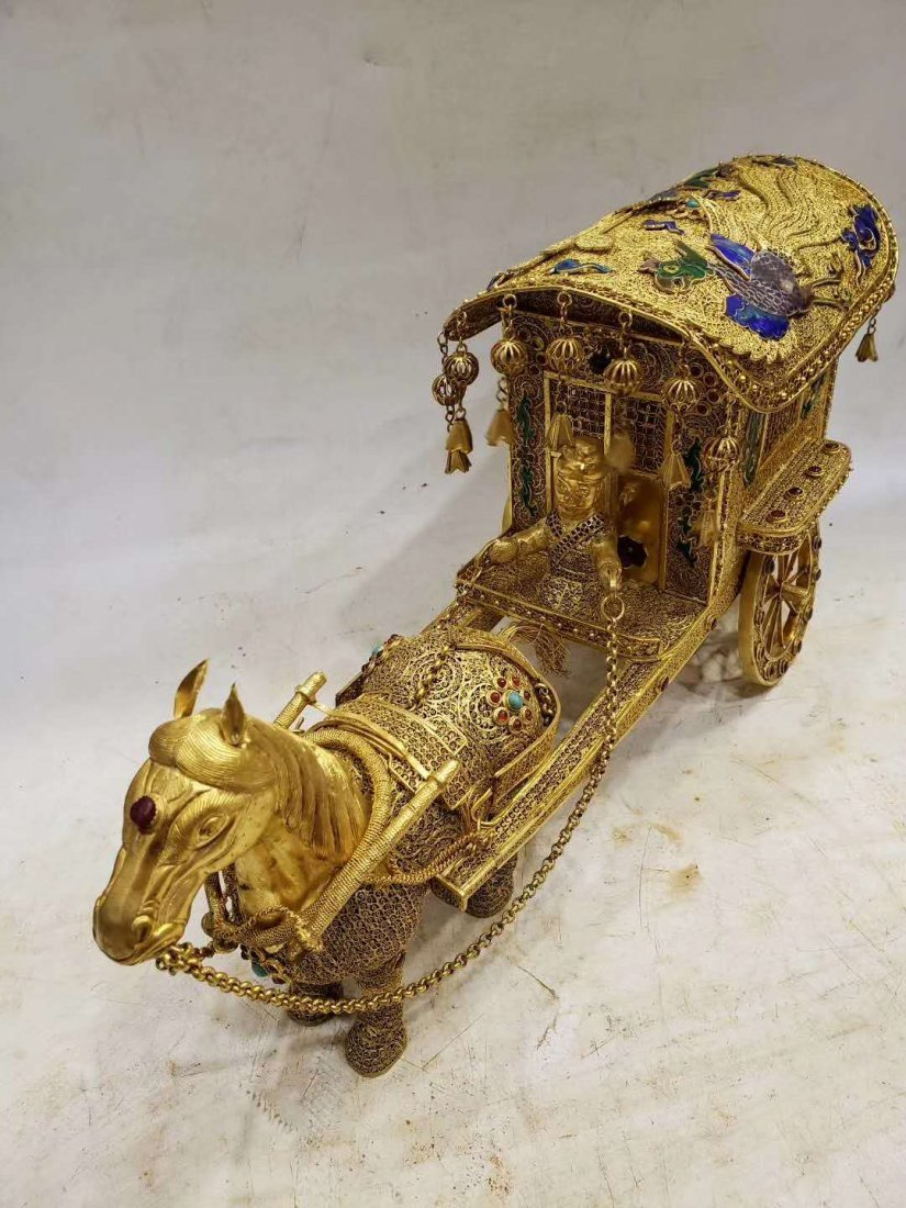 Qing Copper gilt Carriage - 6