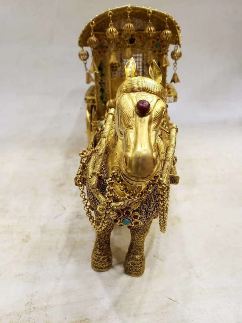 Qing Copper gilt Carriage - 7