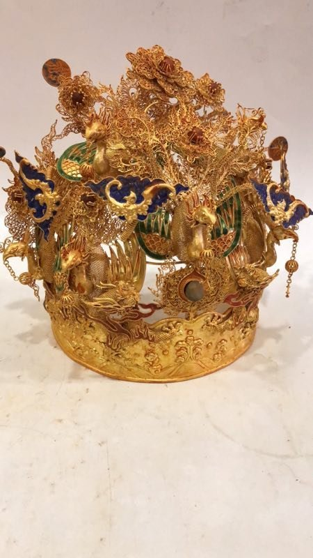 Qing Silver gold-plated Phoenix crown