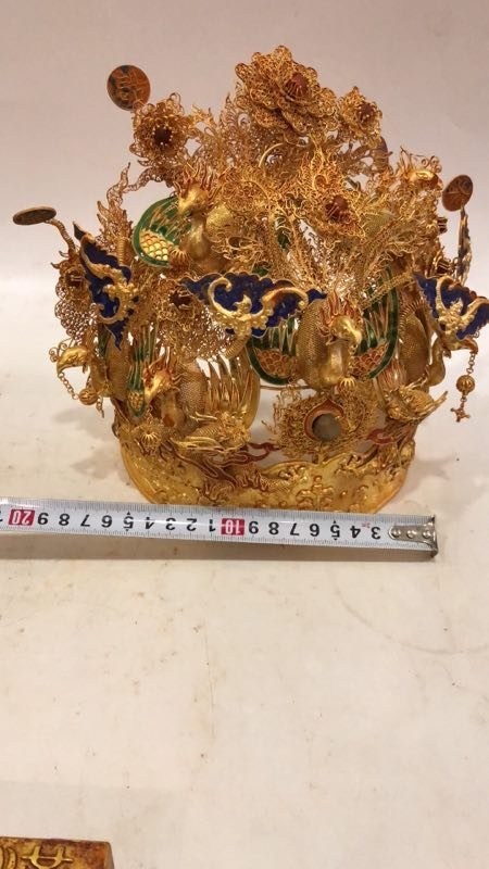 Qing Silver gold-plated Phoenix crown - 4