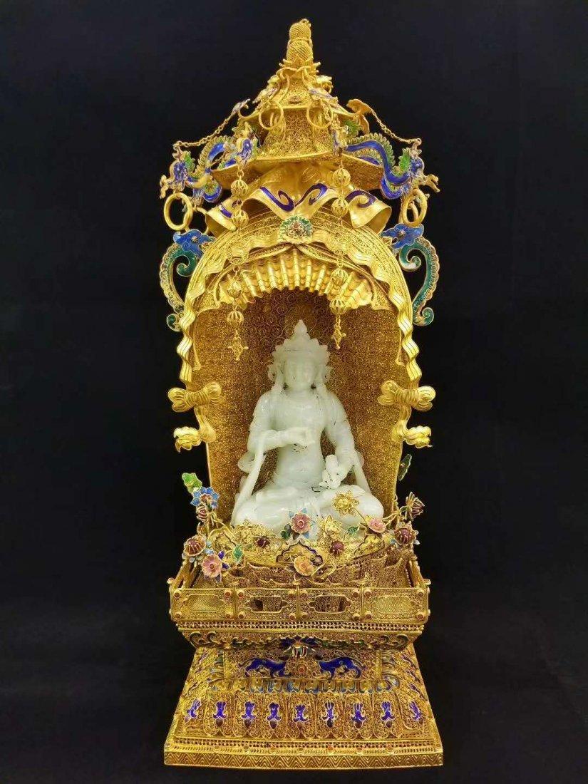 Qing Silver gold Hetian White jade Guanyin