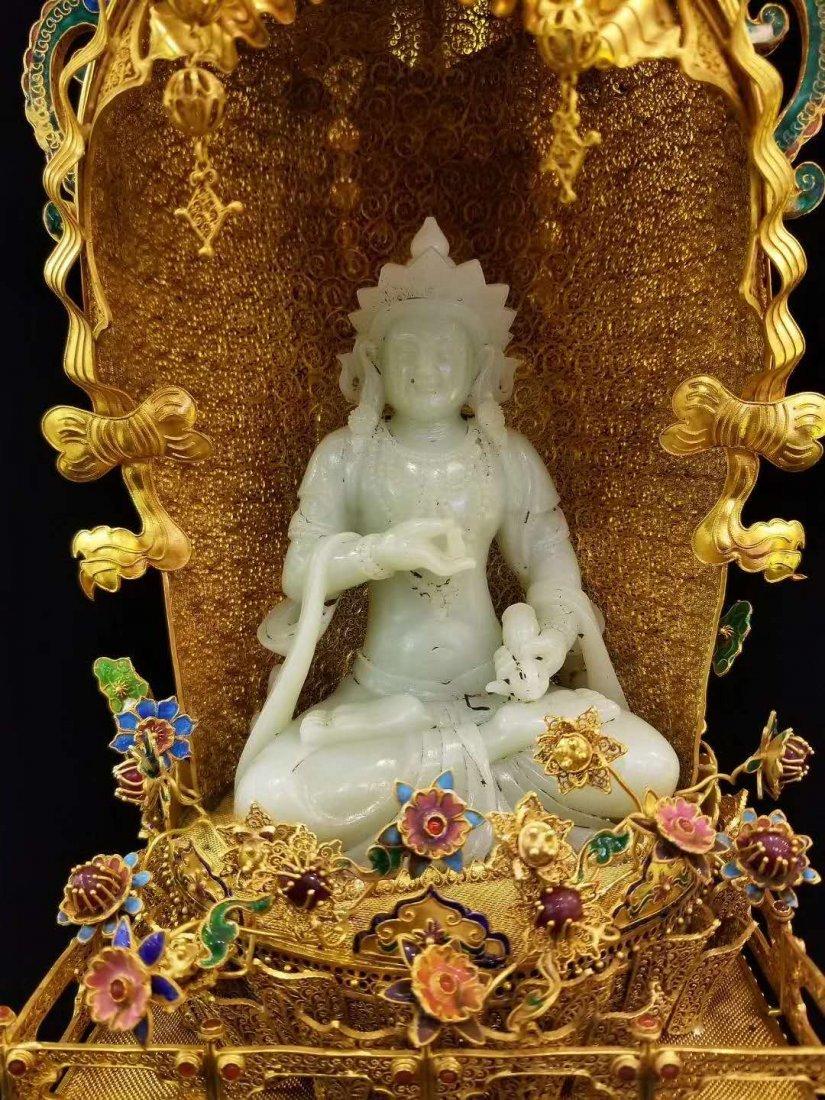 Qing Silver gold Hetian White jade Guanyin - 3