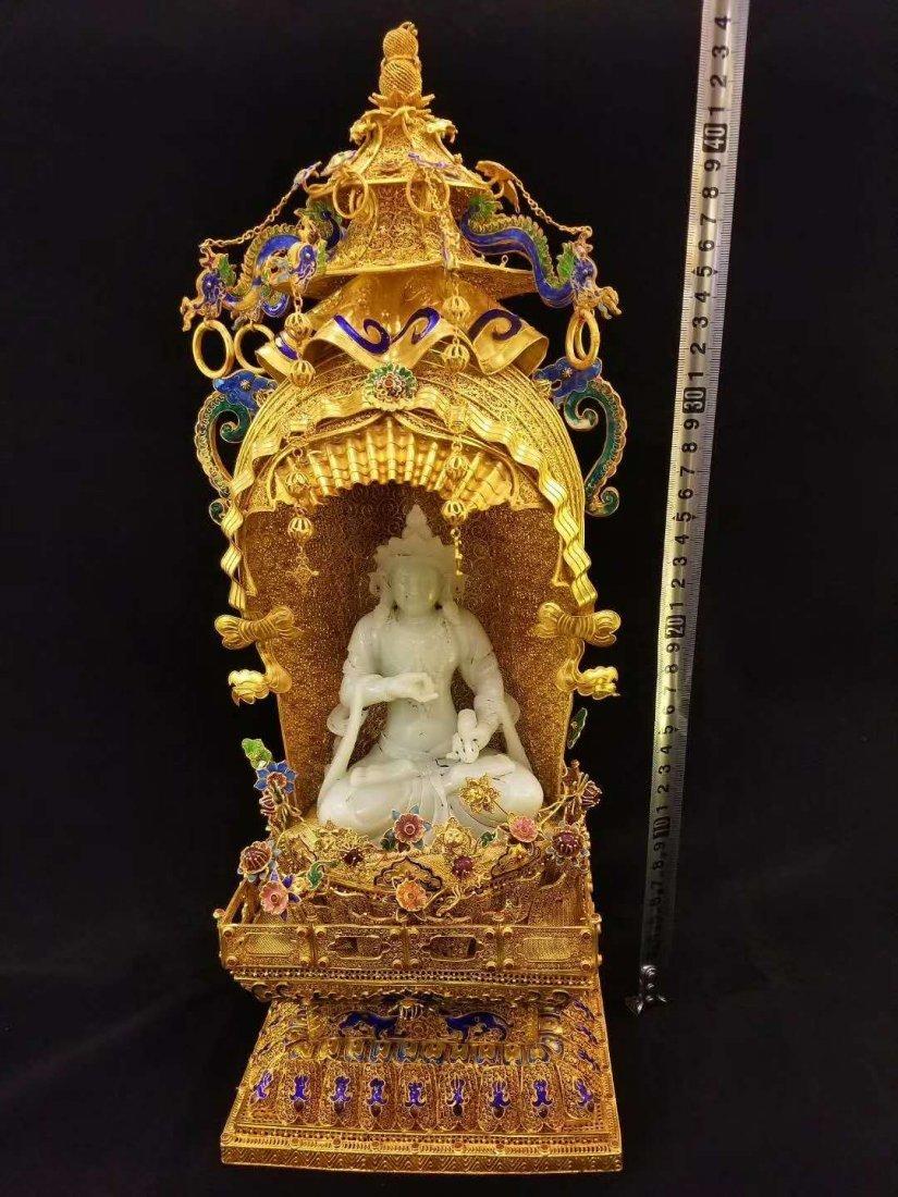 Qing Silver gold Hetian White jade Guanyin - 4