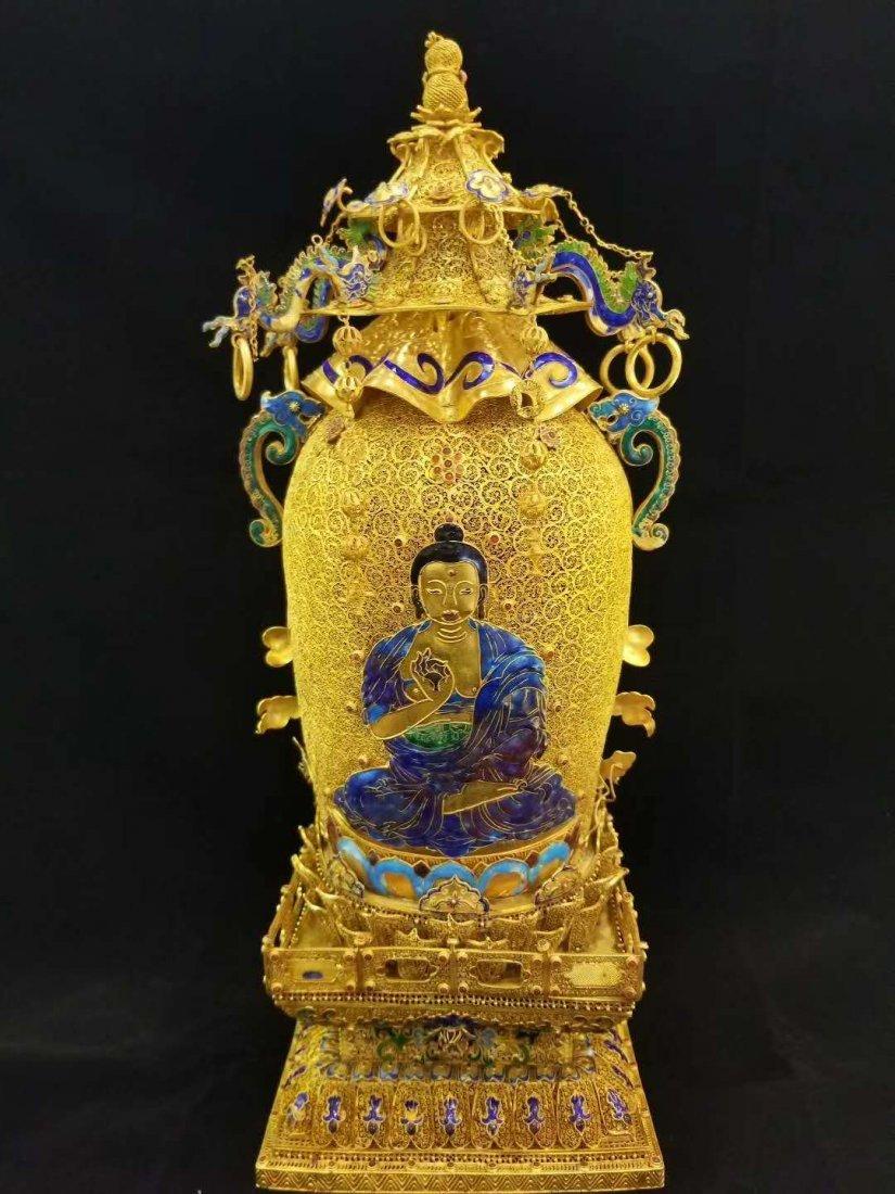 Qing Silver gold Hetian White jade Guanyin - 5