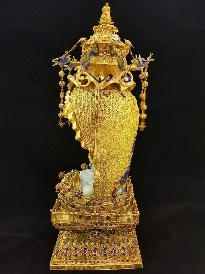 Qing Silver gold Hetian White jade Guanyin - 6