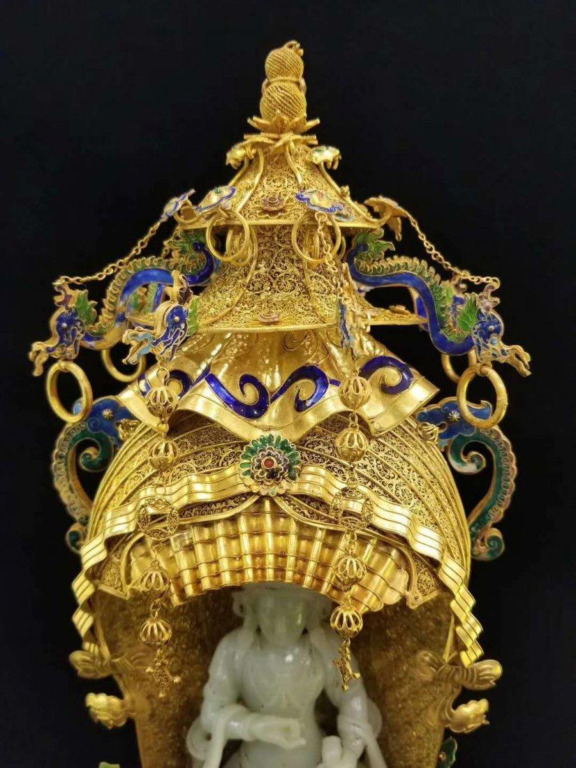 Qing Silver gold Hetian White jade Guanyin - 7