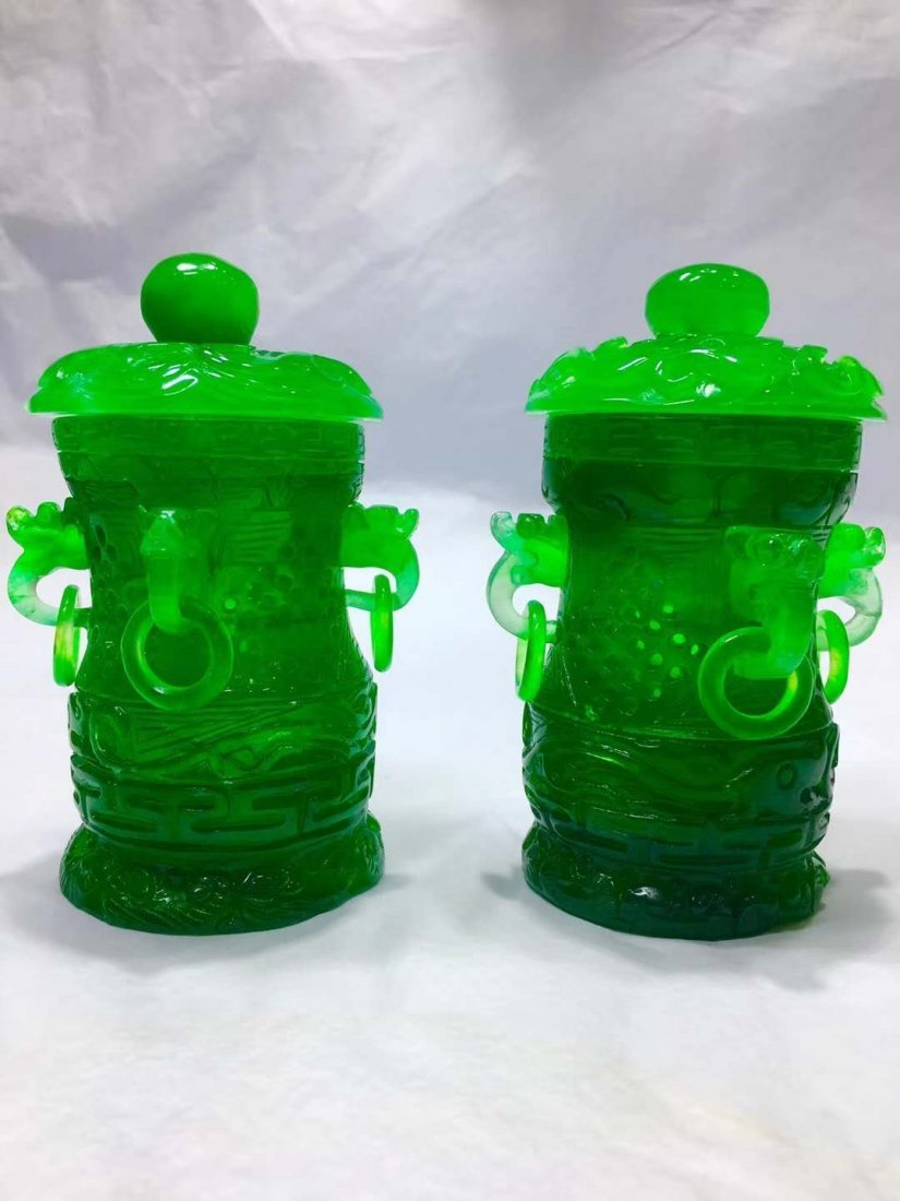 Emerald Jade carving smoked stove